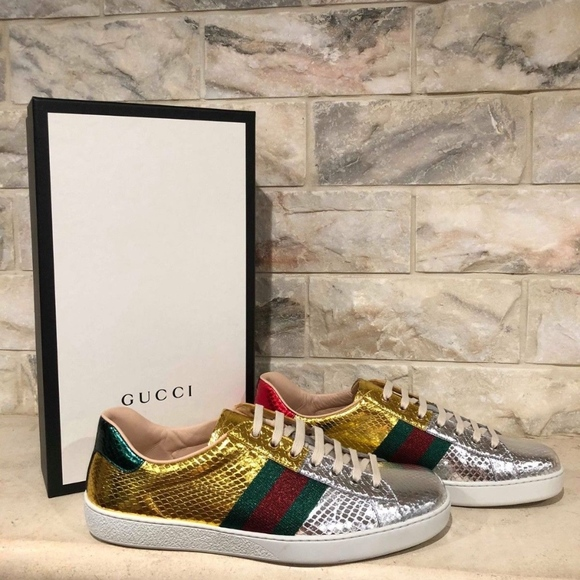f75345366dcf Gucci Ace Gold Silver Snakeskin Red Green Low Top